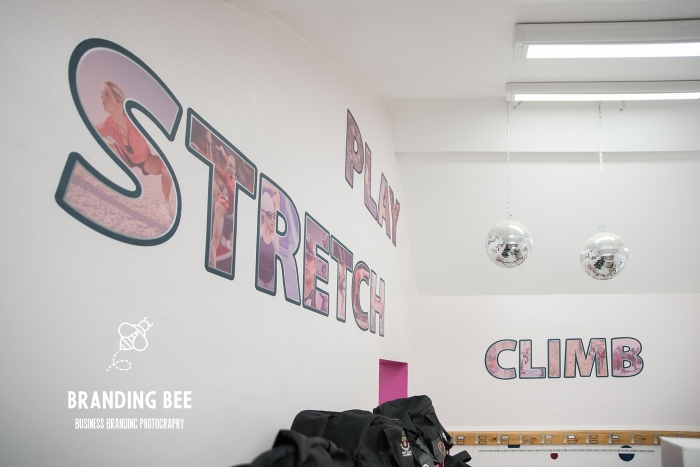 business branding photography in a school changing room